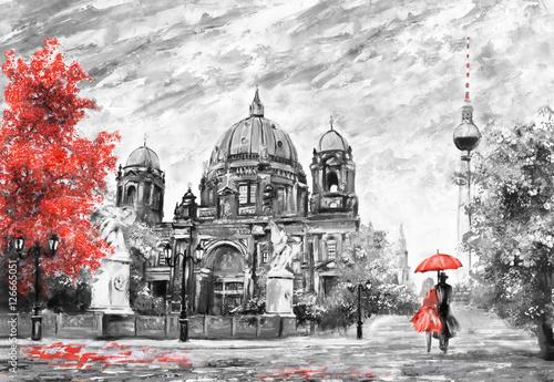 obraz-olejny-na-plotnie-widok-ulicy-w-berlinie-europejski-krajobraz-kompozycji-w-kolorze-czarnym-bialym-i-czerwonym-mezczyzna-i-kobieta-pod-parasolem-drzewa-katedra