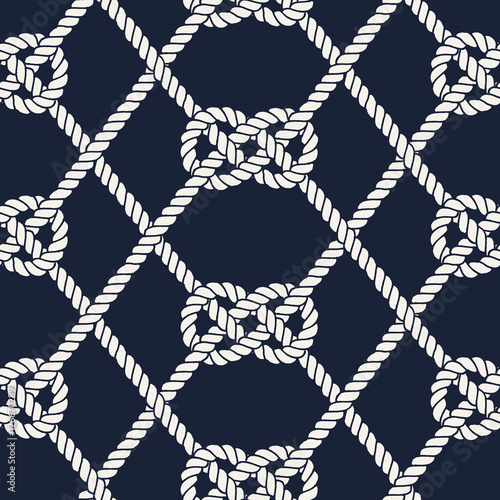 Fotografia  Seamless nautical rope pattern. Carrick Bend knot