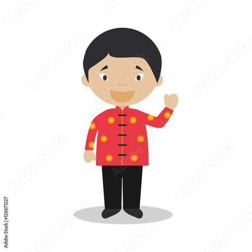 Photo  Character from Singapore dressed in the traditional way Vector Illustration