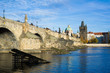 Vltava river and Charles Bridge, Prague, Czech Republic / Czechia - historic building from medieval age. Touristic landmark of the capital city