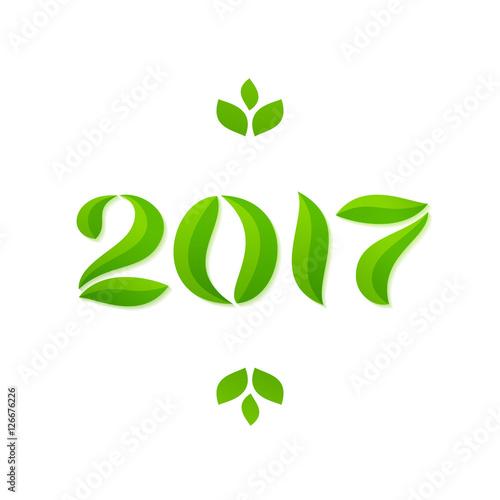 Fototapeta Happy new year 2017 eco leaves greeting card design obraz na płótnie