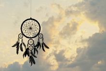 Indian Dreamcatcher Silhouette At Sunset