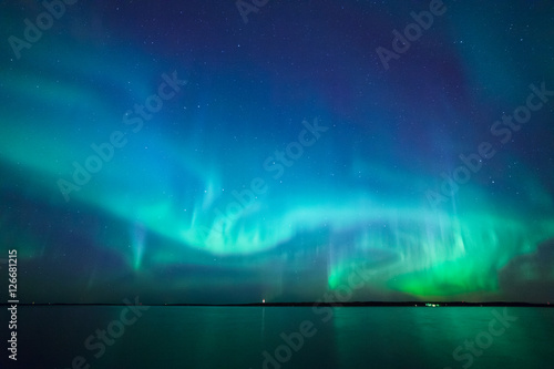 Printed kitchen splashbacks Northern lights Northern lights over lake in finland