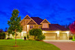 canvas print picture - Luxury house at night in Vancouver, Canada.