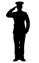 Silhouette Of A Officer Saluting Isolated On White Background.