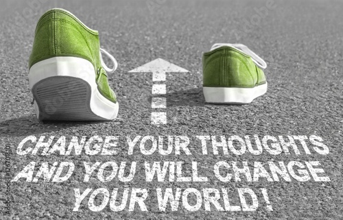 Change your thoughts and you´ll change your world! - Text on street Wallpaper Mural