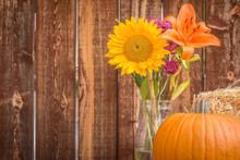 Still Life Of Pumpkin And Autumn Flowers.