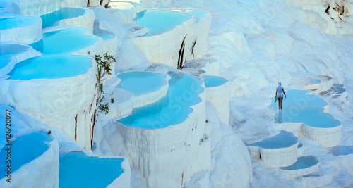 Fotobehang Midden Oosten turquoise water travertine pools at pamukkale