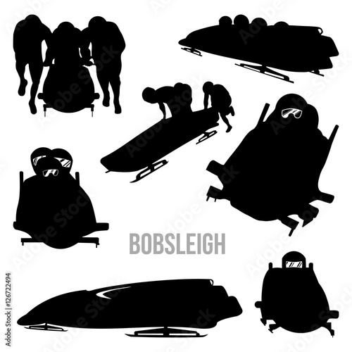 Valokuvatapetti Bobsleigh Bobsledding Bobsled Vector Silhouette Set