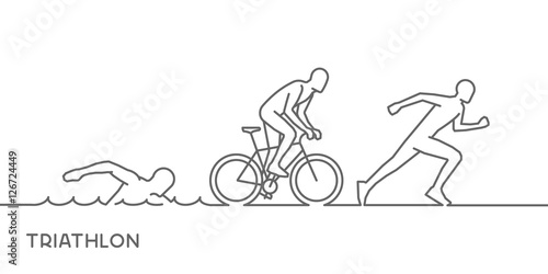 Photo Vector gold line logo triathlon. Swimming, cycling and running s