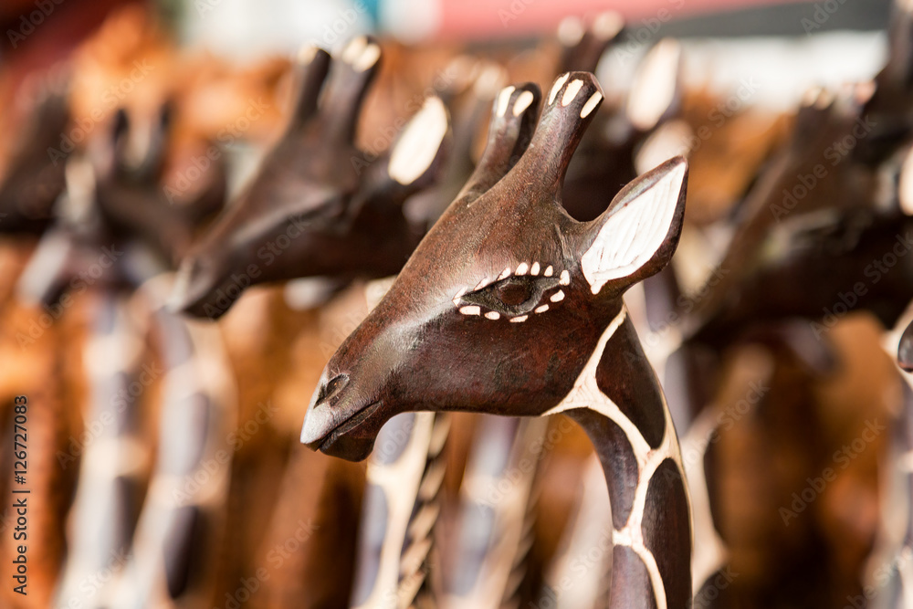 Closeup of generic African carving of a giraffe. This is generic artwork and widely available throughout South Africa.