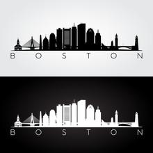 Boston USA Skyline And Landmarks Silhouette, Black And White Design, Vector Illustration.