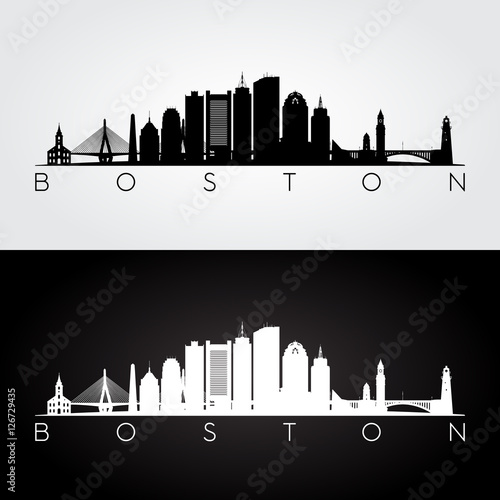 Stampa su Tela Boston USA skyline and landmarks silhouette, black and white design, vector illustration
