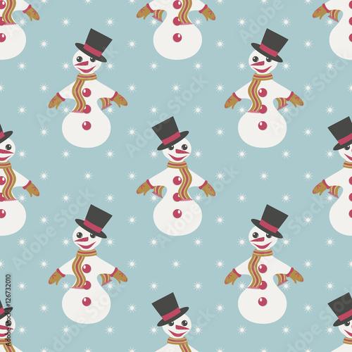 Cotton fabric Seamless  illustration Christmas with snowmen