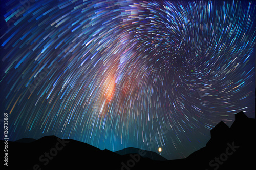 Milky way on hill Canvas-taulu