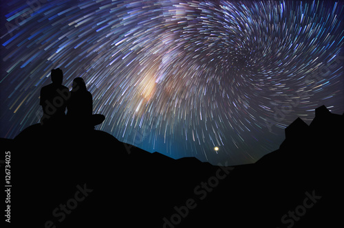 Couple and Milky way Poster