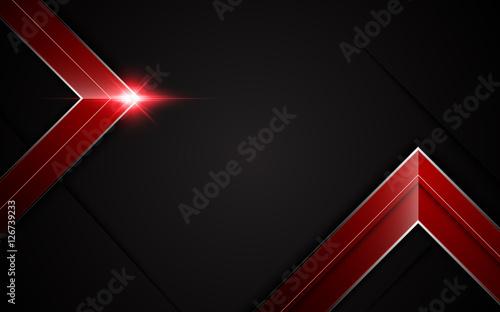 Abstract Modern Arrow Shape Metallic Sharp Frame Red Black