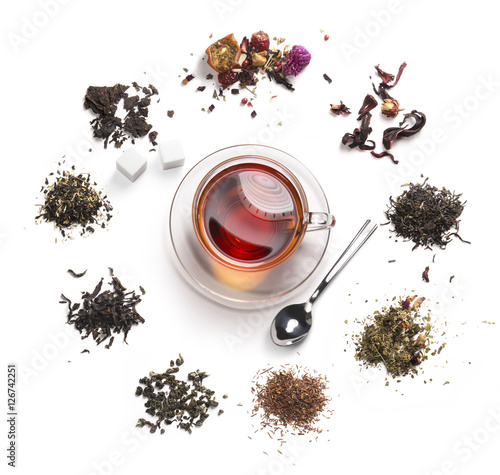 Photo sur Toile The tea accessories on a white background