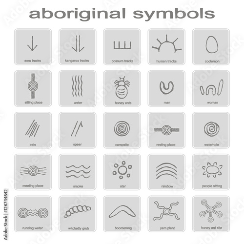 set of monochrome icons with symbols of Australian aboriginal art for your desig Canvas Print
