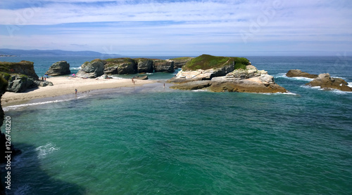 View of the As Illas Beach (Playa de las Islas) in Ribadeo, Galicia - Spain