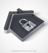 Finance icon: extruded Black Transparent Plastic Home, EPS 10 vector.