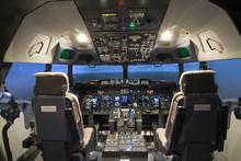 Cockpit Of Plane In Flight Sim...
