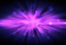 Purple Or Violet Color Glitter Sparkle Defocused Radial Rays Lights Bokeh Beautiful Abstract Background.