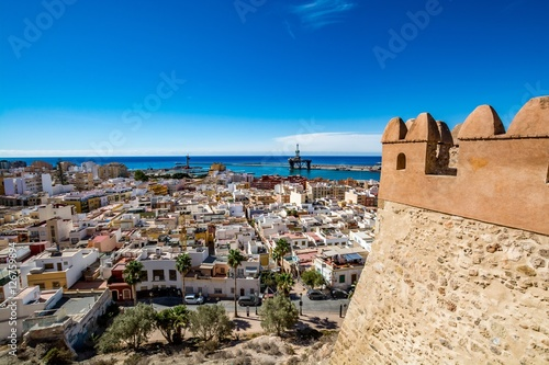 View of Almeria (Almería) old town and port from the castle (Alcazaba of Almeria), Spain