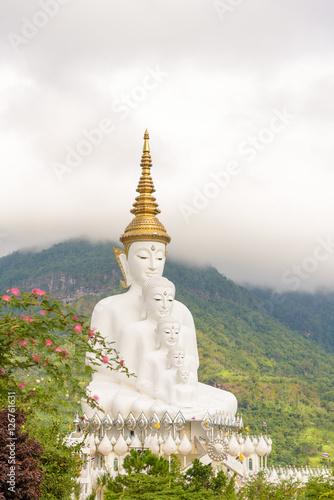 Five white Buddha image in Phetchabun, Thailand. Wallpaper Mural