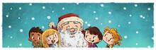 Santa Claus Con Niños Nevando