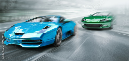 cars racing Wallpaper Mural