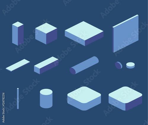 Fotografie, Obraz  Isometric flat 3D concept vector simple elements cube, square, rectangle