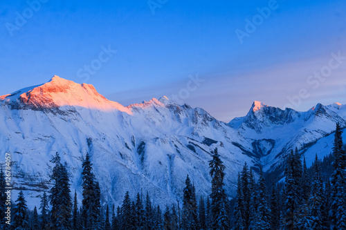 Canadian Rockies Sunset Panorama Poster