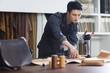 Craftsman working in his studio
