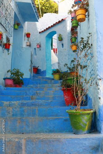 Deurstickers Flowerpots on the steps of a street in Chefchaouen, Morocco