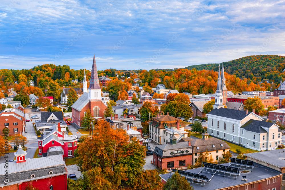 Fototapety, obrazy: Montpelier, Vermont, USA town Skyline.
