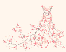 Spring Dress Made Of Blooming Branches