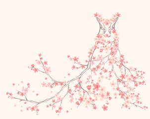 Fototapetaspring dress made of blooming branches