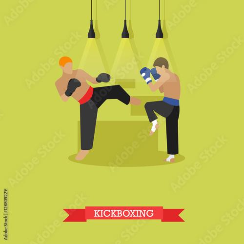 Photo  Kickboxers fighting, flat design