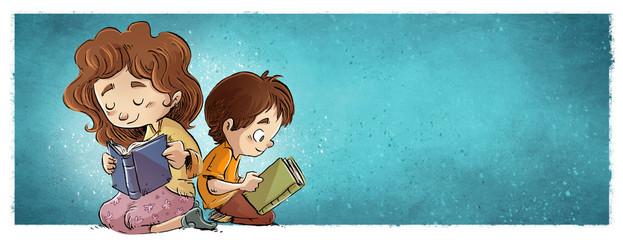niña y niño leyendo libros