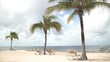 Beachside Palm Trees Sway in the Breeze With Lounge Chairs on the Sand