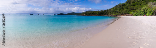Whitehaven beach panorama at Whitsunday Island Canvas Print
