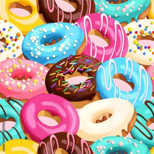 fototapeta na ścianę Glazed donuts seamless