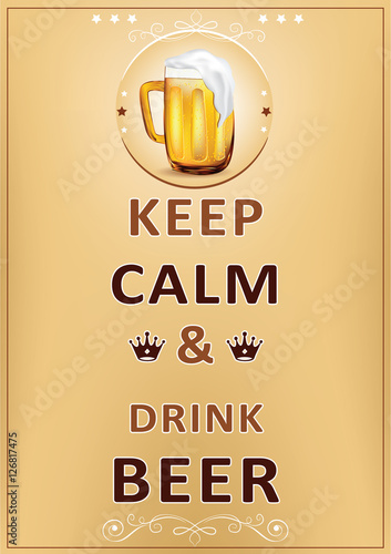 Wall poster for restaurants, pubs, catering agencies - Keep calm and drink beer - printable image - A3 format Plakát