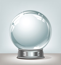 Vector Realistic Snow Globe On Abstract Background