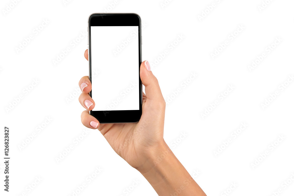 Fototapeta hand holding cellphone with white screen at isolated background
