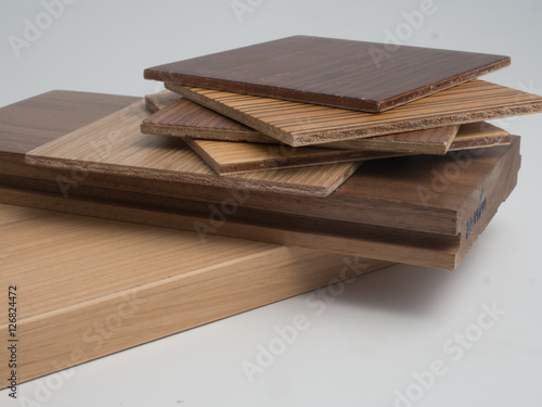 Fotografie, Obraz  Samples of veneer wood on  white background