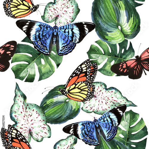 Cotton fabric Tropical Hawaii leaves palm tree and butterflies pattern in a watercolor style isolated.