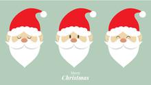 Cute Santa Claus Emotion Face. Christmas Design Concept. Vector Illustration.