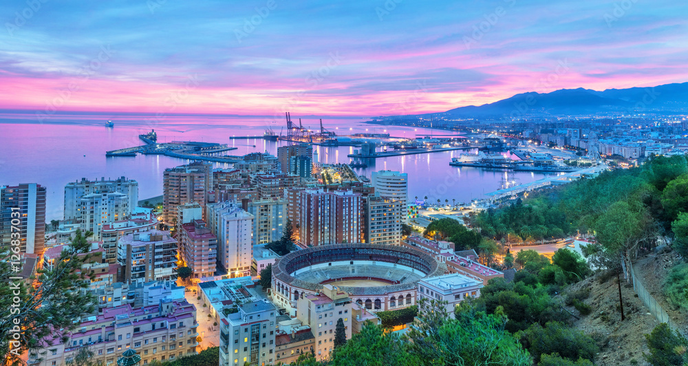 Fototapety, obrazy: Sunset in Malaga - aerial view